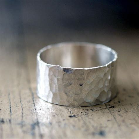Hammered Wide Band Wedding Ring   Praxis Jewelry