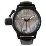 cute red fox wildlife realist painting art wrist watches