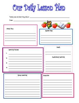 Daily Lesson Planner Template | Daily Agenda Calendar