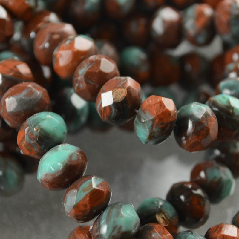 s38619 Firepolish - 9 x 6 mm Faceted Donut - Planet Chocolate (strand 25)