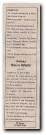 notice décès de Marcelle Poli, épouse Tramoni, et remerciements