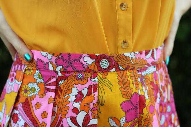 Tropical Print Pleated Skirt and Yellow Top