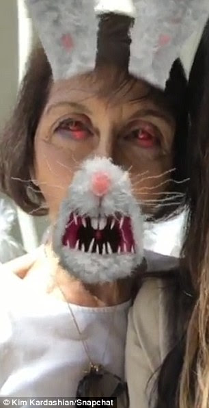 So scary! The 35-year-old even recruited her grandmother Mary Jo and her nephew Mason in the Snapchat silliness, utilizing the app's features to superimpose an evil bunny face over their own