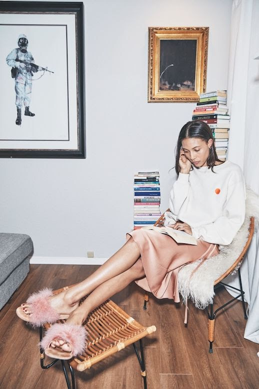 Spring Summer Style Cool Way To Wear Furry Slide Sandals Graphic Print Crew Neck Sweater Satin Pink Skirt Via Brother Vellies Le Fashion Blog