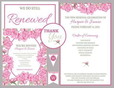 Free Vow Renewal Invitation Suite   Pink Roses