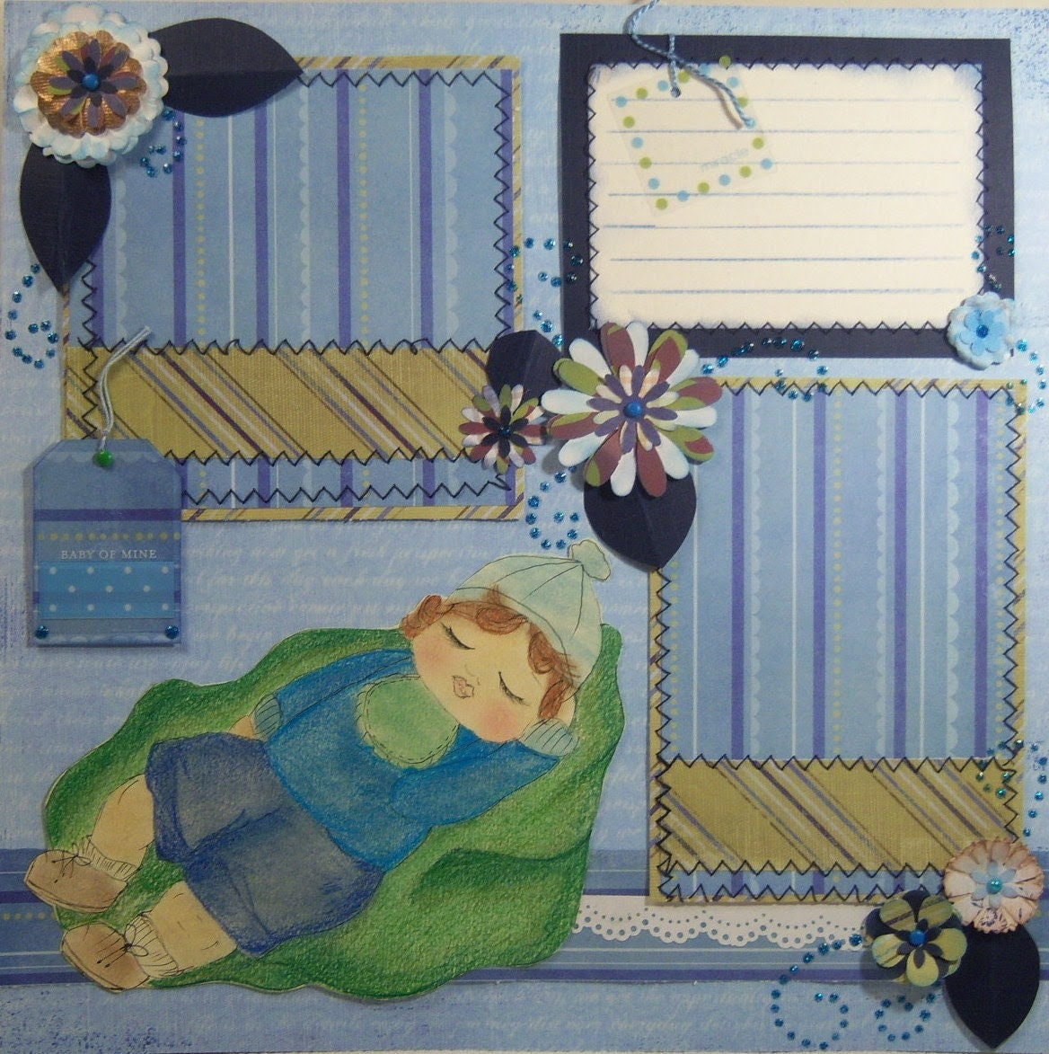 Bundle of Joy Miracle Baby Boy Premade Two Pages Layout for Scrapbook Album