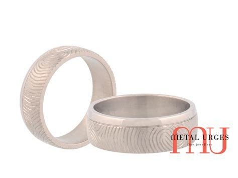 Titanium mens wedding ring with her fingerprint. Custom
