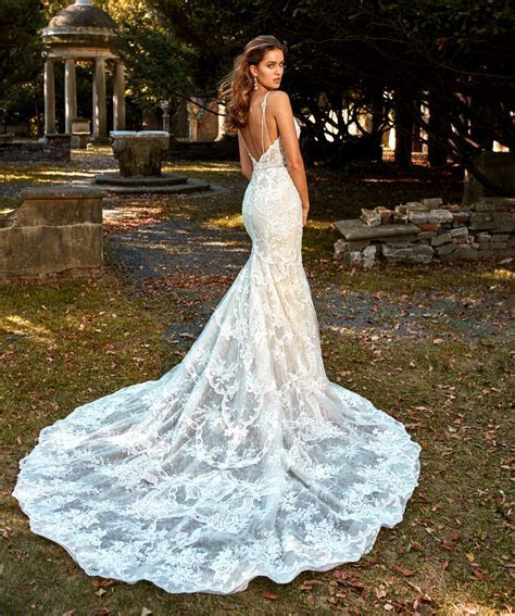Deep V neck Beaded And Embellished Lace Fit And Flare