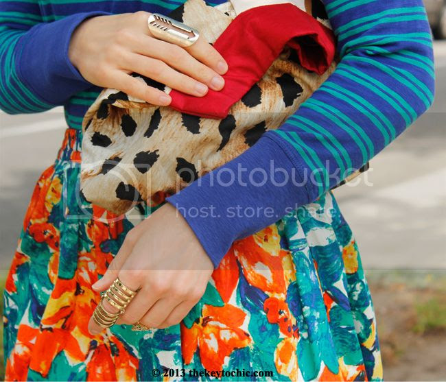 striped J Crew top, floral Duro Olowu for JCPenney skirt, Diana Bobar leopard print handbag, Los Angeles fashion blogger