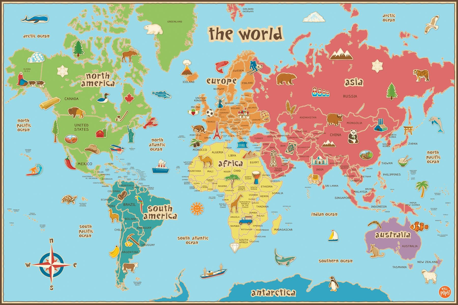 Map Of The World Printable For Kids | demmtk