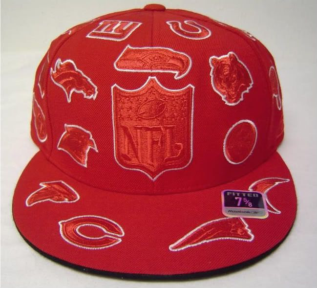 Red Flatbill Fitted Cap with embroidered NFL team logos  eBay