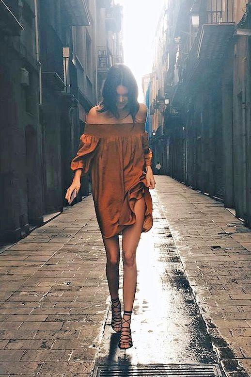 Le Fashion Blog Model Style Kendall Jenner Brown Off The Shoulder Dress Black Strappy Heeled Sandals Via Harpers Bazaar
