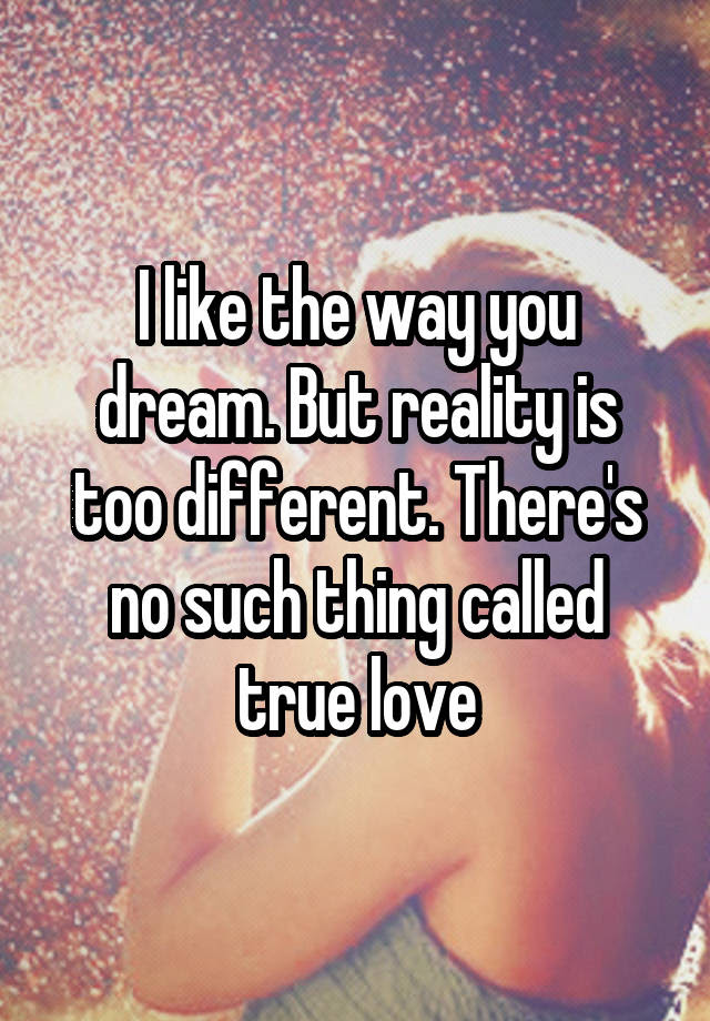 I Like The Way You Dream But Reality Is Too Different Theres No