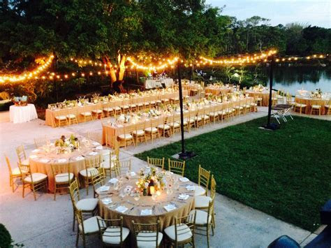 Wedding reception held on the outside terrace at the