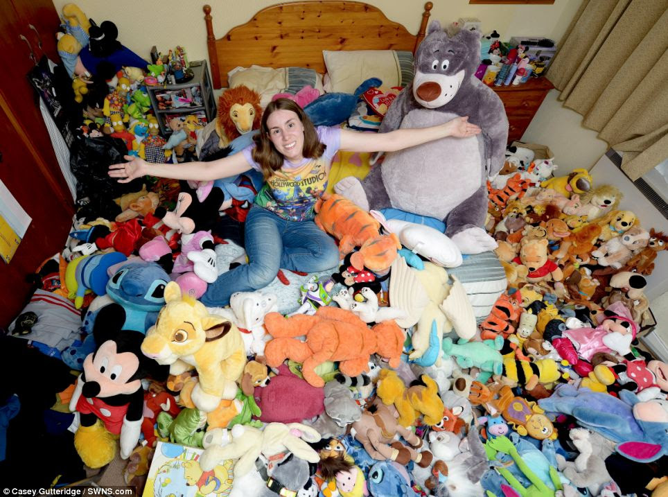 Fanatic: Caroline Rayner, 27, has a collection of more than 400 Disney toys, worth �5,000