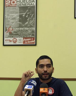 El secretario general del sindicato de estudiantes, Tohil Delgado. EFE