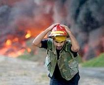 Lebanese fireman during air attack