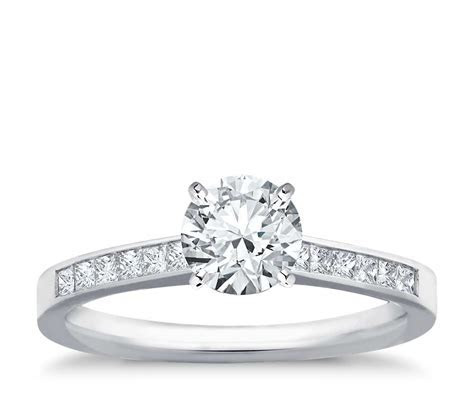 Channel Set Princess Cut Diamond Engagement Ring in 14k