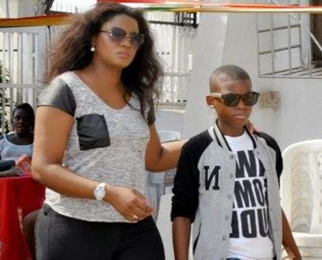 OMG!! Nollywood Actress Omotola Jalade-Ekeinde's Son Faints At US Embassy