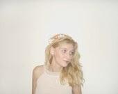 Bridal Flower Crown,  Orange  Bridal Headpiece, Ivory,  Lace, Spring, Orange Wedding Hair Accessories - MBrides