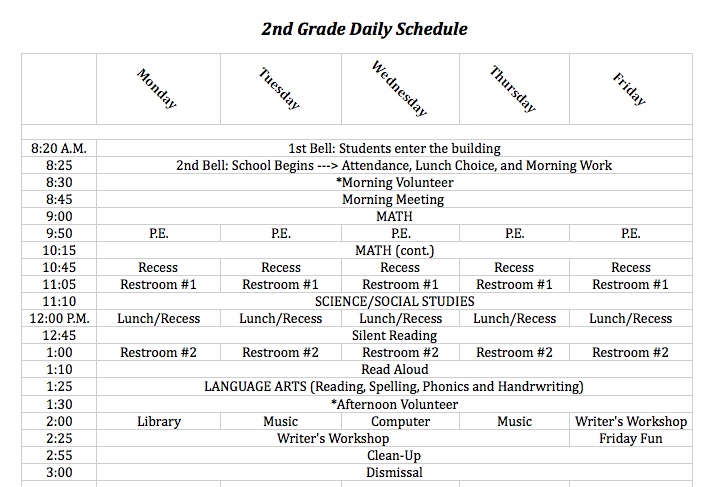 Artifact and Reflective Statement: 2nd Grade Daily Class Schedule ...