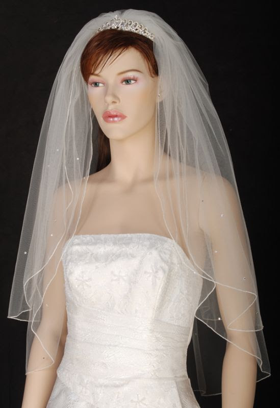 Diamond White Veil w/ Crystal Edge :  wedding Veil Front