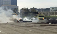 Watch Video: Fiery Plane Crash on California Freeway During Rush Hour Traffic