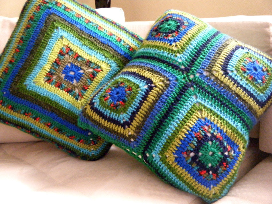 Pillow Grannysquare with refreshing colors - StylestanbuL