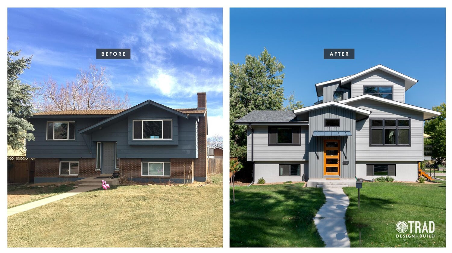 Before After Remodel From Homely Split Level To Eclectic Contemporary Trad Design Build