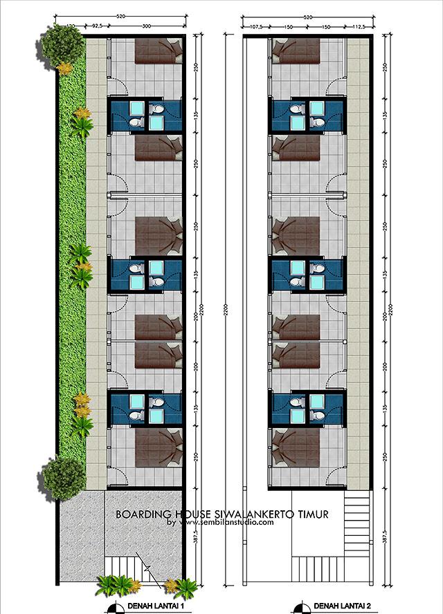 Desain Rumah Kos di Lahan Memanjang 5x20m – sembilanstudio