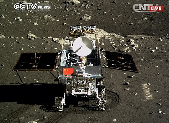 CCTV Yutu rover on the Moon