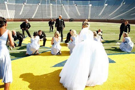 Here comes the bride down the football field!   Michigan