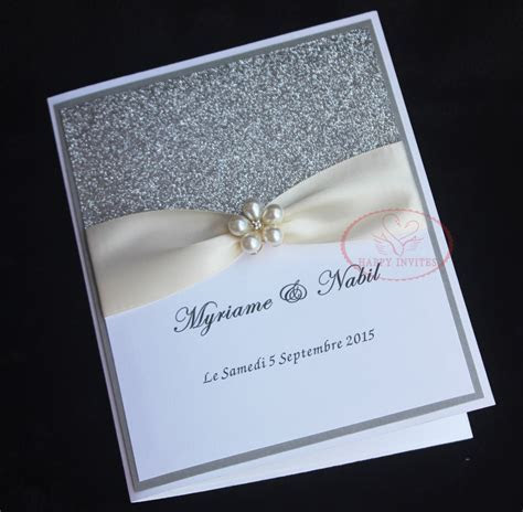 HI1092 Elegant White Wedding Invitation Card with Silver