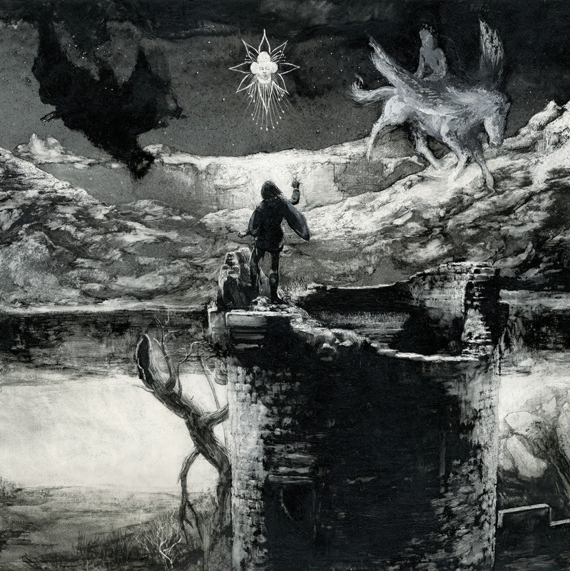 MANFRED CONJURING THE SPIRITS (Central panel) Santiago Caruso / Ink & scratching over paper / 74cm x 26, 3cm / 2012