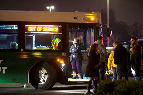 BURLINGTON, WA - SEPTEMBER 23: The scene outside the Cascade Mall as people are evacuated on buses after three women were reportedly shot dead and a man critically injured following a shooting at the shopping center on September 23, 2016 in Burlington, Washington. The suspect is believed to still be at large. (Photo by )