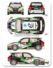 Calcas 1/24 Racing Decals 43 - Skoda Fabia S2000 Ebo Enterprises Nº 3 - Freddy Loix + Johan Gitsels - Geko Ypres Rally 2014 - para usar con kit de Belkits BEL-004