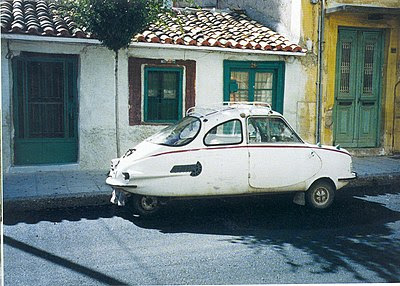 Attica 200 (1963). The car seems at home in the old part of a Greek provincial town