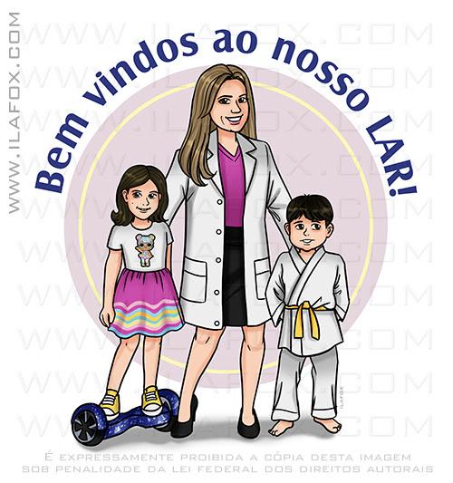 caricatura desenho, caricatura familia, caricatura digital, caricatura para presente, caricatura mãe e filhos, caricatura bonita,  ila fox