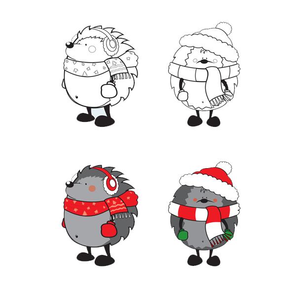 Coloriage Hérisson De Noël