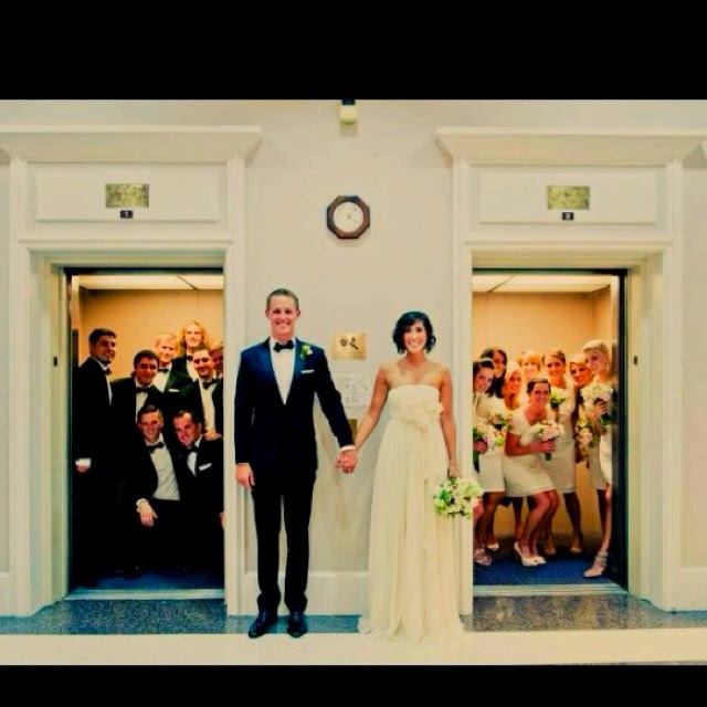 haha such a cute bridal party photo! Love this because our reception site has 2 elevators!