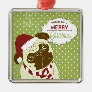 Christmas Pug Square Metal Christmas Ornament