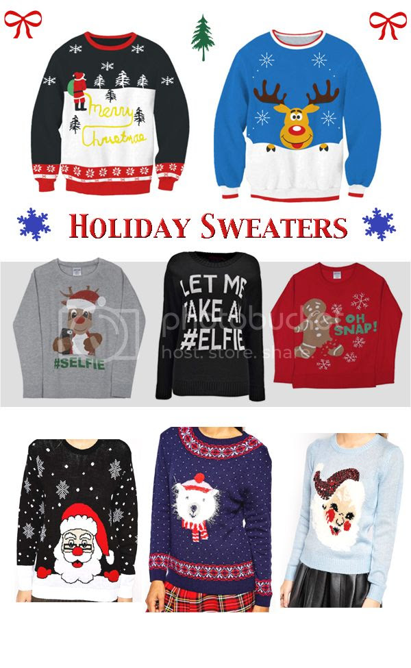 ugly holiday sweaters with snowman, Santa, and Rudolph