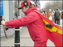 David Honan in his Ferrari outfit