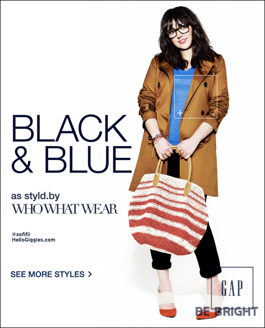 GAP STYLD BY CAMPAIGN WHOWHATWEAR SOFIA SOFIFI HELLO GIGGLES TAN TRENCH BLUE TEE BLACK CROPPED PANTS TWO TONE HEELS STRIPE SUMMER BAG THICK BLACK FRAME EYEGLASSES