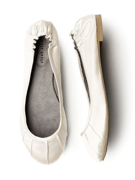 Pleated Satin Ballet Flat   The Dessy Group $28   Wedding