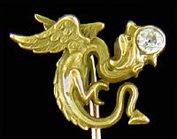 Carrington dragon and diamond stickpin. (J9439)