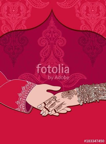 """""""Wedding indian invitation card on red background. India"""