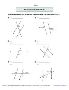 Parallel Lines and Transversals Worksheet Equations and Transversals