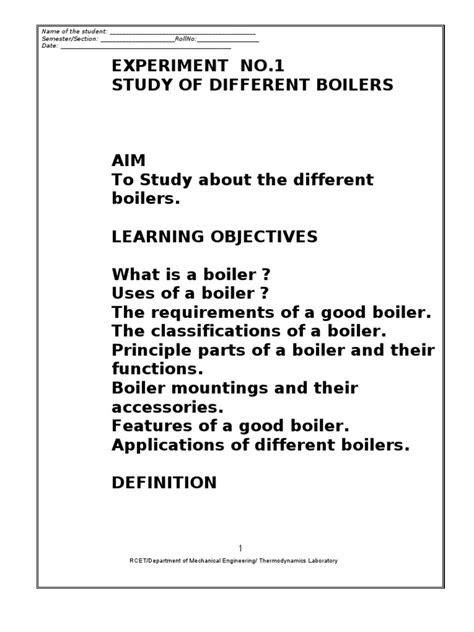 Thermodynamics Lab Manual | Boiler | Steam Engine