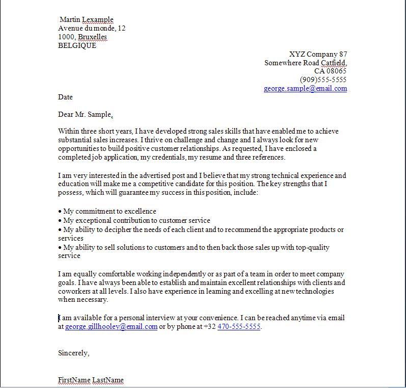 Sample Cover Letter: Modele De Lettre En Anglais